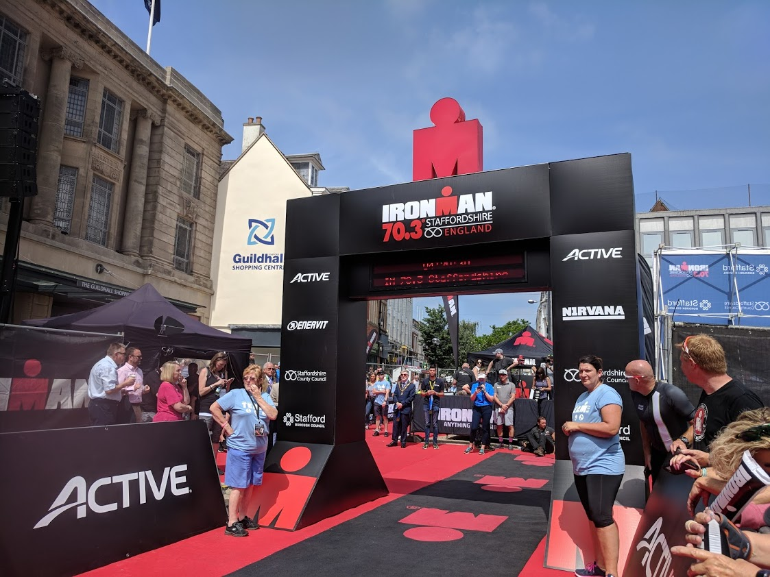 After a 1 hour race delay the winners are over the line for Ironman 70.3 Staffordshire