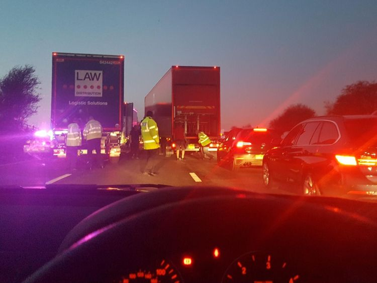 Driver held after 27 migrants found in lorry on the M6