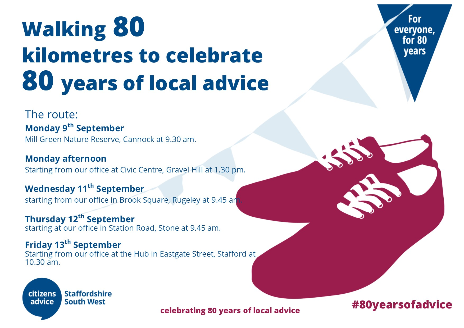 Walking 80k to celebrate 80 years of local advice