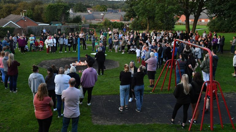 Hundreds attend vigil after mum, two children, and friend 'on a sleepover' found dead